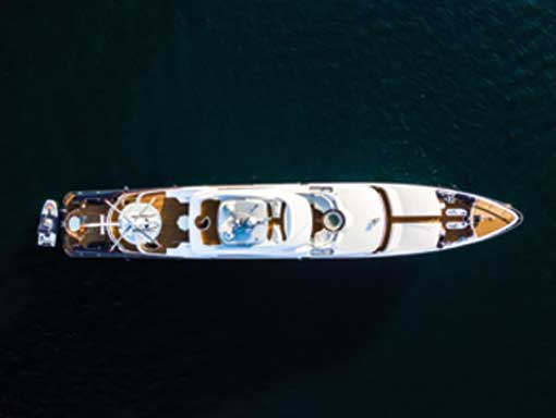 Aerial view of a yacht